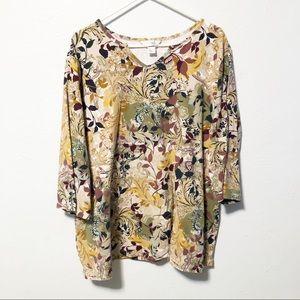 CJ Banks Floral T-Shirt Bold Colors Neck Cutout